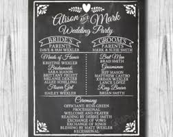 chalkboard wedding program chalkboard wedding etsy
