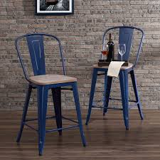 Tabouret Bistro Chair Carbon Loft Tabouret Bistro Wood Seat Navy Counter Stools Set Of