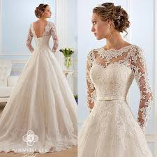 2018 new vintage lace wedding dresses a line deep v neck long