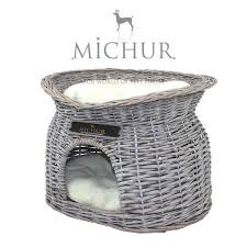 michur richy grey wicker basket cave bed for dogs cats incl
