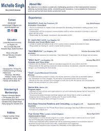 Entertainment Industry Resume Resume U2014 Michelle Singh U0027s Porfolio
