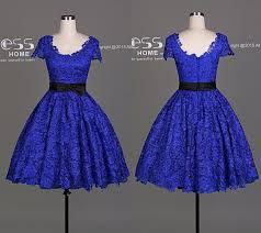 new arrival royal blue cap sleeve lace a line short bridesmaid