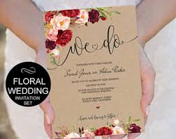 wedding invite template we do wedding invitation template burgundy floral watercolor