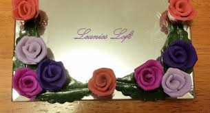 purple flowers mirror candle base polymer clay roses square