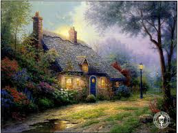 moonlight cottage painting by kinkade