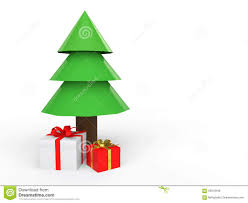 3d low poly christmas tree and gift boxes stock illustration