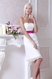 fitted style lace short wedding dress strapless short bridal gown