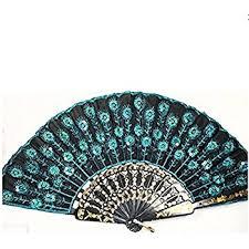 peacock fan peacock pattern sequin fabric fan decorative