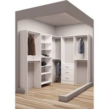 tidysquares classic white wood 75 x 96 corner walkin closet