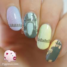 piggieluv freehand castle on pastel gradient nail art video