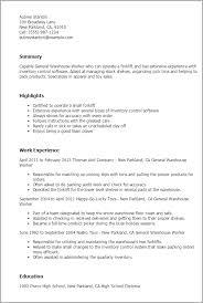 warehouse resume exles resume sles general warehouse worker resume sle warehouse