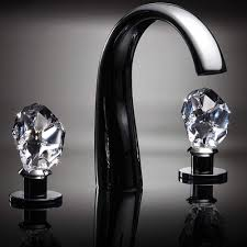 crystal 3 hole bathroom faucet polished chrome
