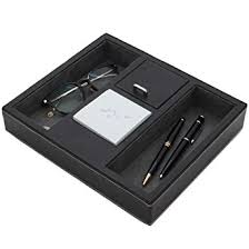amazon com valet tray leather desk or dresser organizer by tech