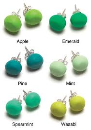 green earrings green tone stud earrings emily green