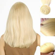 Blonde Weft Hair Extensions by 3 Bundles Lot 613 Bleach Blonde Silky Straight Virgin Hair Weft