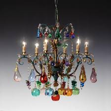 Murano Glass Flower Chandelier Bacco Murano Glass Chandelier With Flowers And Fruits