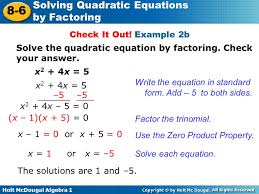 10 solve the quadratic equation by factoring