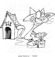 dog house coloring pages vector of a cartoon cat blowing up a dog house outlined coloring