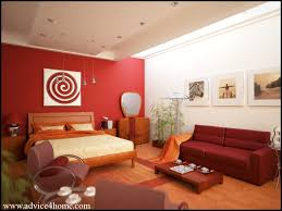 interior bedroom design with red wall and cherry bad