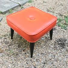 Vinyl Orange Ottoman Vintage Orange Pouf Tufted 1 Button Foot Stool Ottoman Vinyl Mid