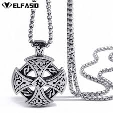 cross necklace fashion jewelry images Mens boys stainless steel pendant chain silver black celtic solar jpg