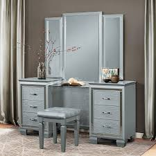 Silver Bedroom Vanity Allura Vanity Dresser W Mirror Silver Bedroom Vanities