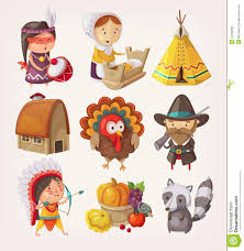 set of thanksgiving items and characters stock vector image