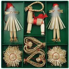 straw ornaments set of 21 pieces straw decorations