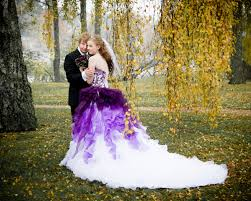 purple wedding dress dip dye purple and white ombre wedding dress strapless with
