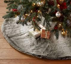 faux fur tree skirt grey ombre faux fur treeskirt pottery barn