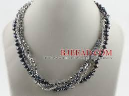 multi crystal necklace images 17 7 inches multi strand black pearl and gray crystal necklace jpg