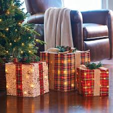 lighted gift boxes christmas decorations lighted plaid gift boxes christmas decoration improvements