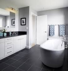 Grey Wall Bathroom Painting Paneling Walls Bathroom Farmhouse With Patterned Floor