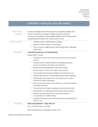 Litigation Paralegal Resume Cover Letter Corporate Paralegal Resume Samples And Templates