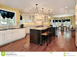 kitchen with island and eating area royalty free stock photos