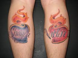 heart with flames name tattoos dale pinterest fire tattoo