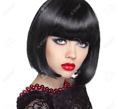 woman with short hair beautiful woman with black short hair haircut hairstyle fringe