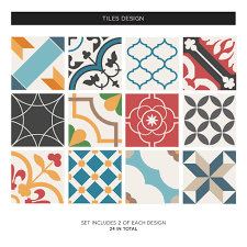 Spanish Mediterranean Spanish Mediterranean Tile Decal Sticker Set Pack Of 24 By Sirface