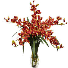 artificial flowers cymbidium orchid silk flower arrangement burgundy walmart