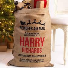 santa sacks personalised santa sack hessian reindeer air mail dyefor
