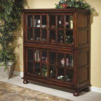 furniture antique brown wooden book cabinet using glass door with