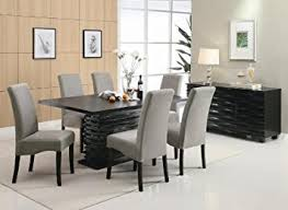 black dining room table set amazon com stanton contemporary 7 pc black and gray dining table
