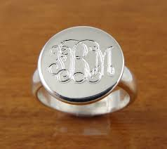 monogrammed rings silver monogram ring initial ring personalized ring engraved ring