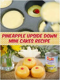 pineapple upside down mini cakes recipe baked in muffin tins
