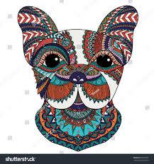 colorful french bulldog zentangle design t stock vector 689725306