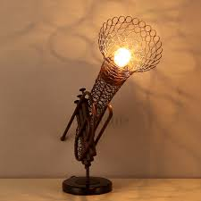 saxophone shaped wrought iron industrial lamp