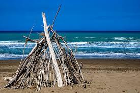 wooden tent beach with wooden tent spiaggia con tenda di legno photograph by