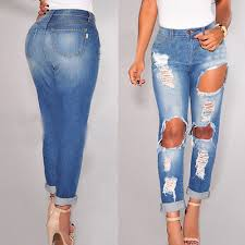 Destroyed High Waisted Jeans Women High Waist Jeans Woman Knee Skinny Pencil Plain Stretch