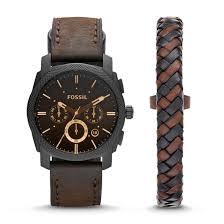 bracelet fossil images Machine chronograph dark brown leather watch and bracelet box set jpg