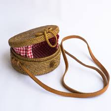 mini gingham round wicker straw bag polkadee